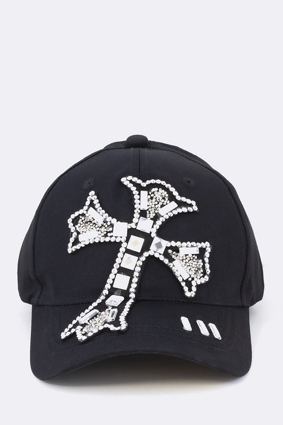 Black Hat with Cross Design and Clear Rhinestones ( 8423 )