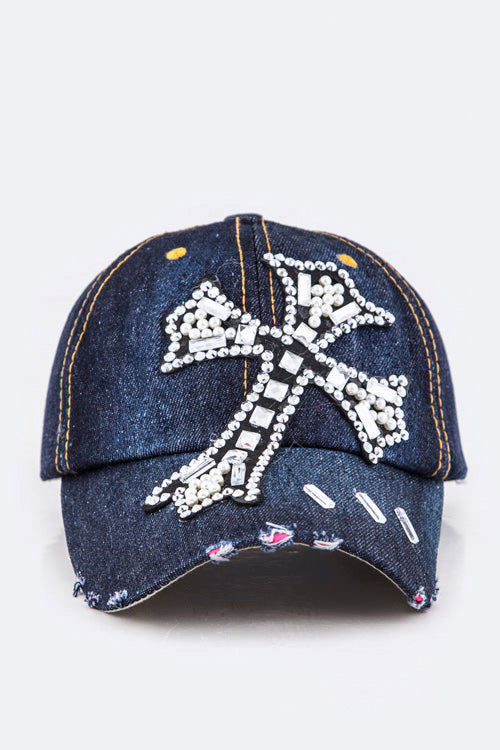Dark Denim Hat with Cross Design and Clear Rhinestones ( 8423 )