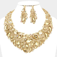 GOLD NECKLACE SET WITH TOPAZ STONES ( 014200 )
