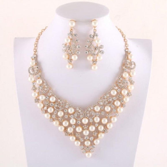 Gold Necklace with Clear Rhinestones and Cream Pearls Formal Set ( 014237 GCR )
