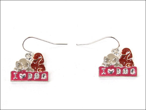 I Love Dog Enamel Fish Hook Dangle Earrings ( 0207 )