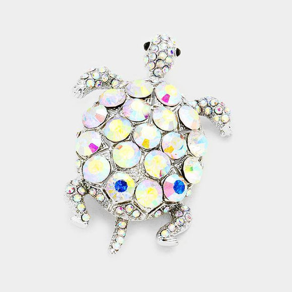 SILVER TURTLE BROOCH AB STONES ( 0611 )