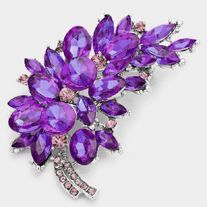 "3"" Purple Rhinestone Brooch with Silver Accents ( 06197 PP )"