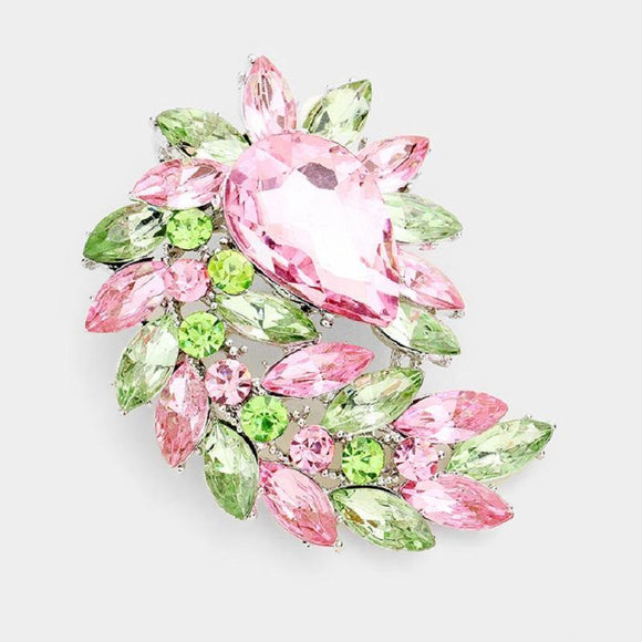 Pink and Green Rhinestone Pointy Marquise Swirl Brooch ( 06233 PKGR )
