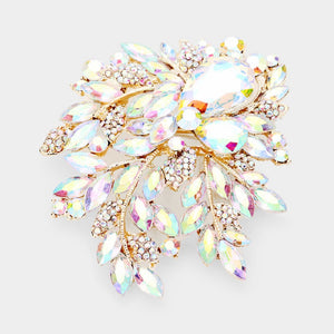 "3.75"" Gold AB Large Rhinestone Brooch ( 06246 )"