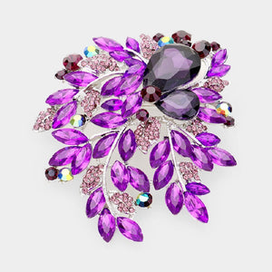 "3.75"" Silver Purple Large Rhinestone Brooch ( 06246 )"