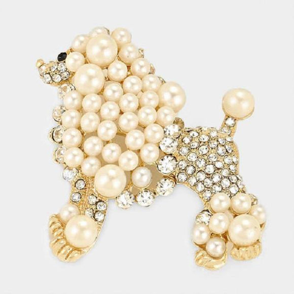 Gold Clear Rhinestone and Cream Pearl Poodle Dog Brooch ( 06301 )