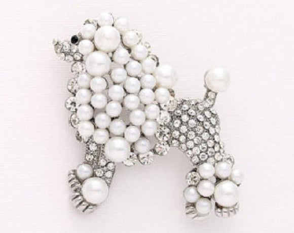 Silver Clear Rhinestone and White Pearl Poodle Dog Brooch ( 06301 )