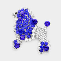 SILVER POODLE BROOCH WITH CLEAR AND BLUE RHINESTONES ( 06302 )