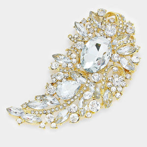 "4.25"" Gold Clear Rhinestone Brooch ( 06338 )"