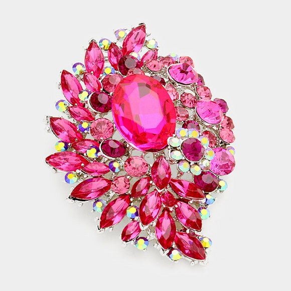 Fuchsia Pink Oval, Round, and Marquise Rhinestone Brooch with Silver Background