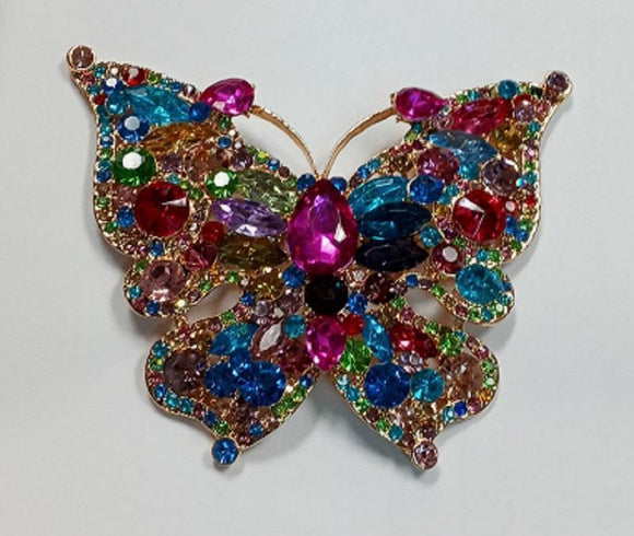 Gold Multi Color Rhinestone Butterfly Brooch ( 06536 GMU )