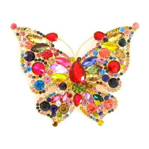 Gold Multi Color Rhinestone Butterfly Brooch ( 06536 )