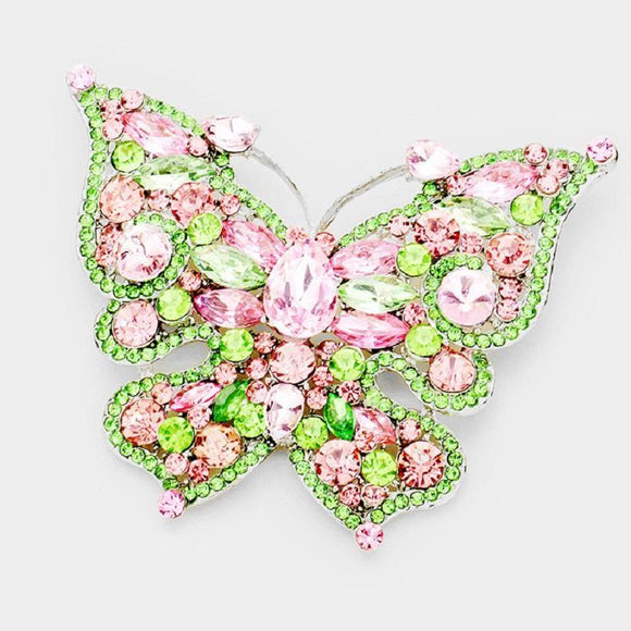 Silver Pink and Green Rhinestone Butterfly Brooch ( 06536 )