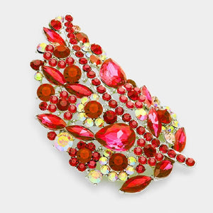 "3 3/4"" Red Rhinestone with Silver Accent Leaf Brooch ( 06540 )"