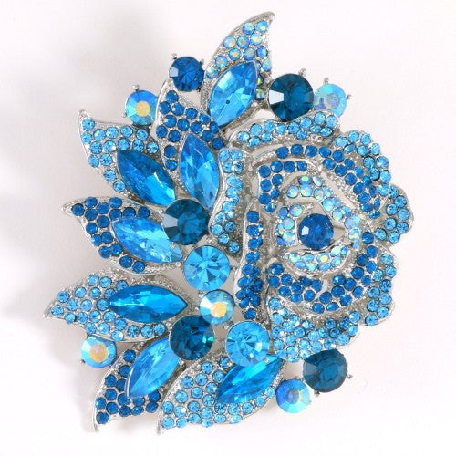 Aqua Blue Rhinestone Rose Flower Brooch