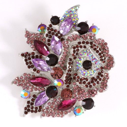Purple Rhinestone Rose Flower Brooch