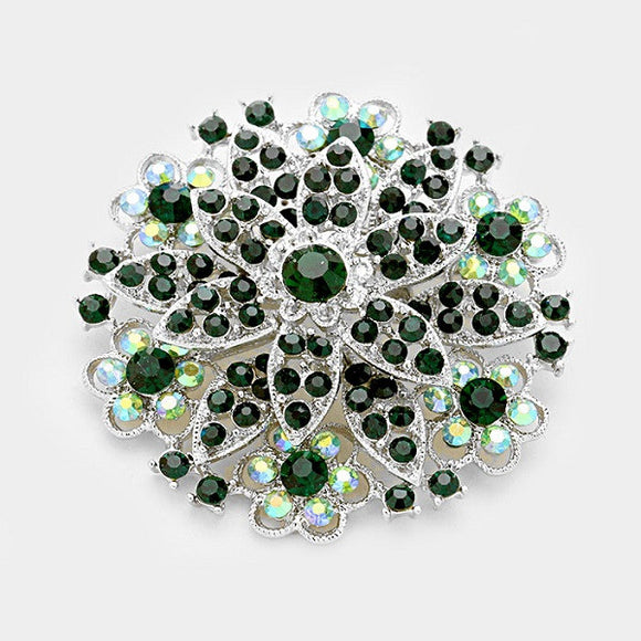 Round Green Rhinestone Flower Brooch