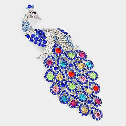 Royal Blue Multi Color Rhinestone Large Peacock Brooch ( 0660 )