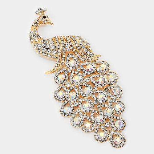 Gold AB Rhinestone Large Peacock Brooch ( 0660 )