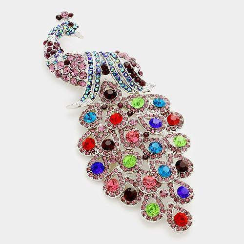 Purple Multi Color Rhinestone Large Peacock Brooch ( 0660 )
