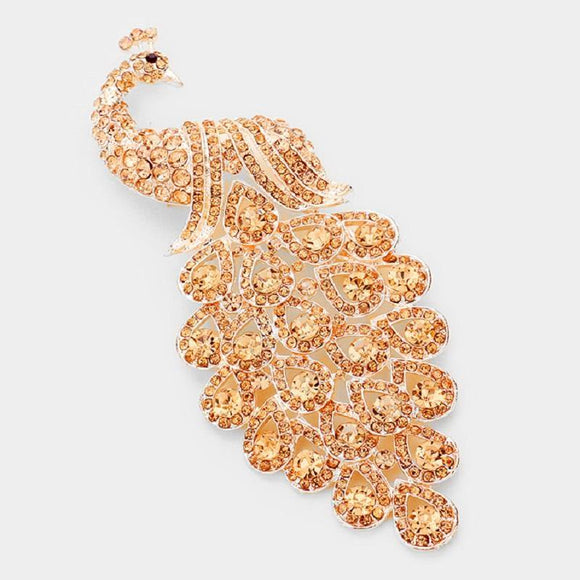Rose Gold Peach Rhinestone Large Peacock Brooch ( 0660 )