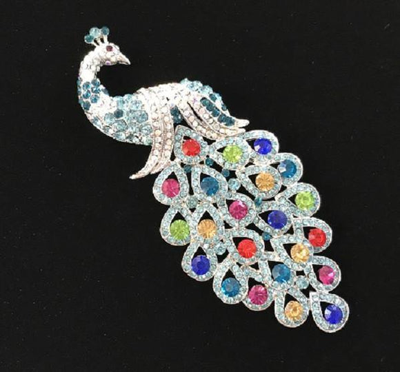 Light Blue Multi Color Rhinestone Large Peacock Brooch ( 0660 )