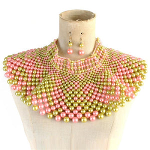 Pink and Green Statement Pearl Collar Necklace with Earrings ( 10550 )