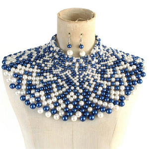 Blue and White Statement Pearl Collar Necklace with Earrings ( 10550 )