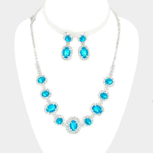 Aqua Blue and Clear Rhinestone Oval Set ( 10787 )