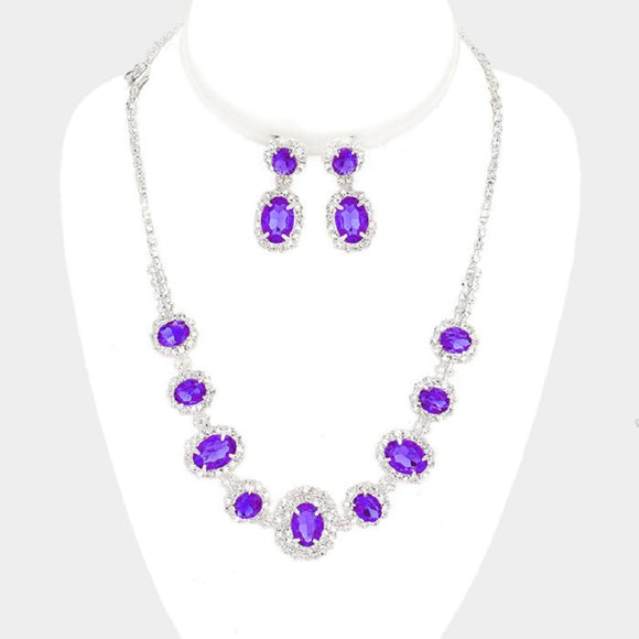 Purple and Clear Rhinestone Oval Set ( 10787 )