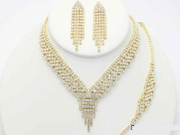 GOLD 3 PIECE NECKLACE SET BRACELET CLEAR STONES ( 19113 )