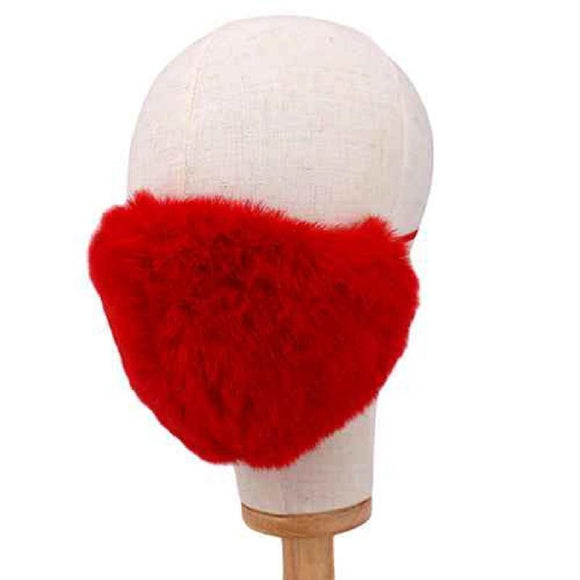 RED COLOR MASK FASHION SHAGGY FAUX FUR ( 2665 RE )