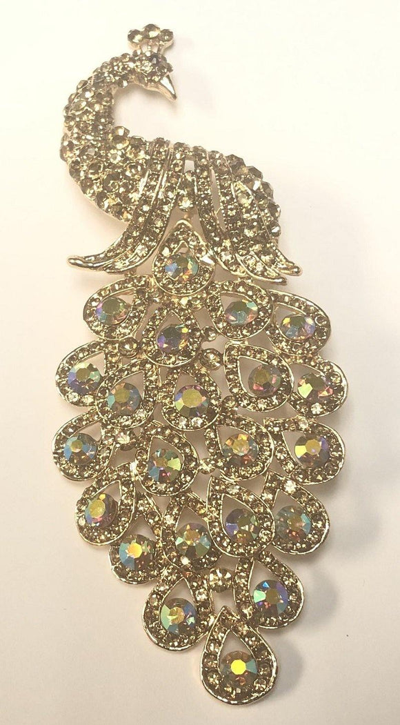 Gold TOPAZ Rhinestone Large Peacock Brooch ( 0660 )