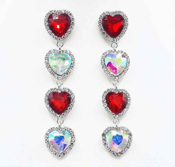 SILVER HEART EARRINGS RED CLEAR AB STONES ( 2338 RHRD )