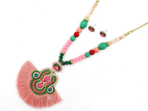 GOLD PINK GREEN NECKLACE SET SOUTACHE ( 7114 )