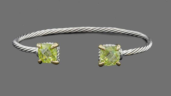 SILVER GOLD CUFF BANGLE GREEN CZ CUBIC ZIRCONIA STONES ( 7641 )