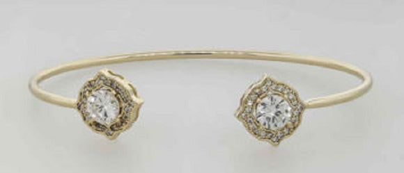 GOLD CZ CUBIC ZIRCONIA CUFF BANGLE ( 7438 )