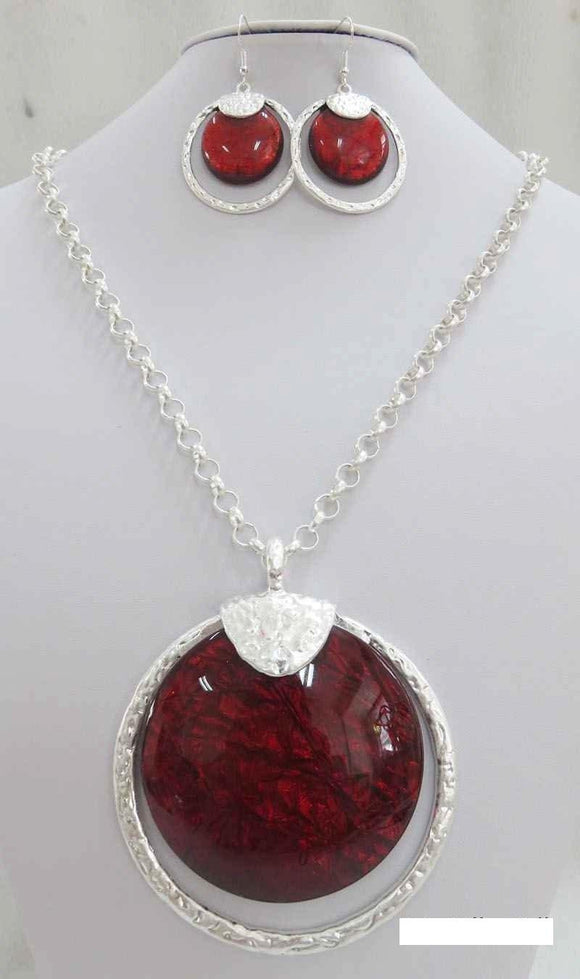 LONG SILVER NECKLACE SET RED STONES ( 3714 MSRD ) - Ohmyjewelry.com