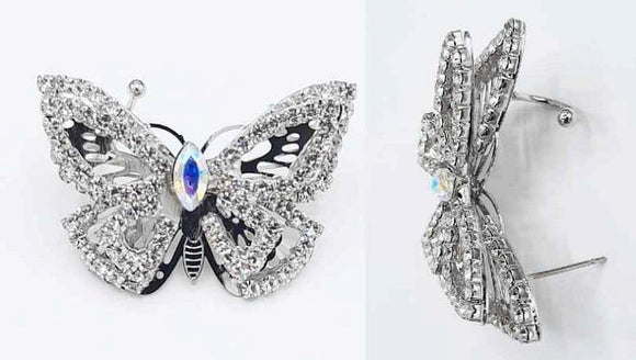 SINGLE SILVER BUTTERFLY EAR CUFF CLEAR AB STONES ( 2220 RHCRY ) - Ohmyjewelry.com