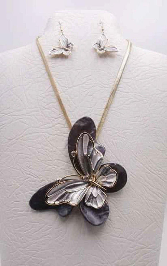GOLD BLACK MULTI COLOR BUTTERFLY NECKLACE SET ( 3680 GBK )