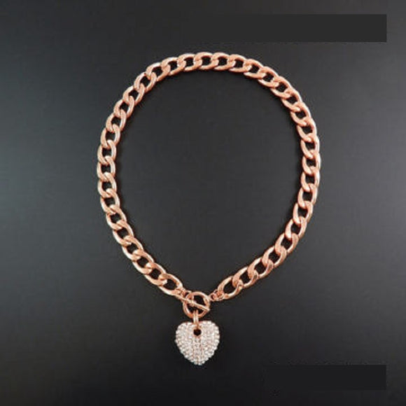ROSE GOLD NECKLACE HEART PENDANT CLEAR STONES ( 1442 RGDCLR )