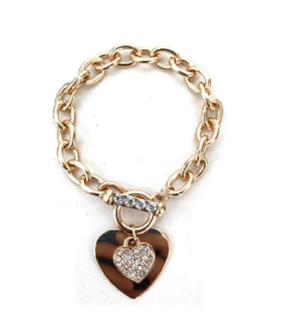 GOLD HEART CHARM SHINY BRACELET ( 20004 G )