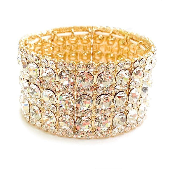 GOLD Clear Rhinestone Stretch Formal Bracelet ( 114 GCL )
