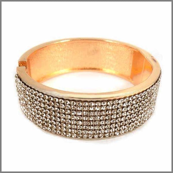 GOLD METAL BANGLE TOPAZ STONES ( 4202 GLTP )