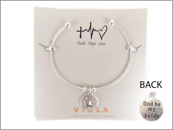 SILVER CUFF BANGLE PRAYER HANDS CHARM ( 4331 WS )