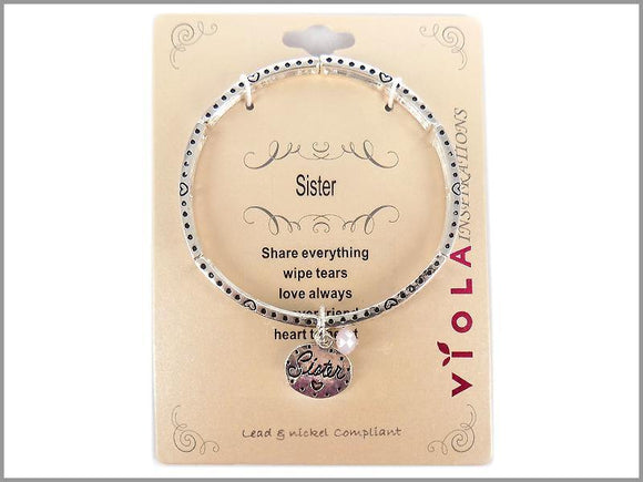 SILVER STRETCH BRACELET SISTER CHARMS ( 4971 AS )