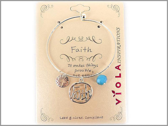 SILVER BANGLE FAITH CHARMS ( 4974 AS )