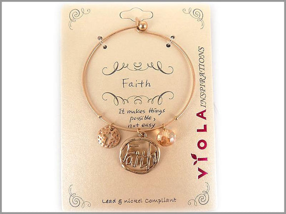 GOLD BANGLE FAITH CHARMS ( 4974 WG )