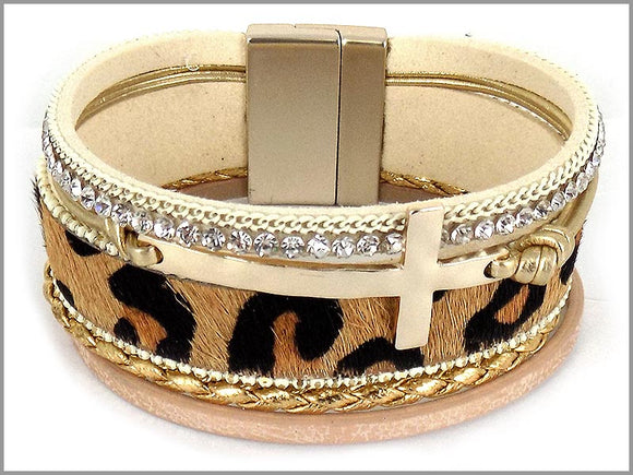 ANIMAL HAMMERED CROSS MAGNETIC BRACELET ( 5403 )